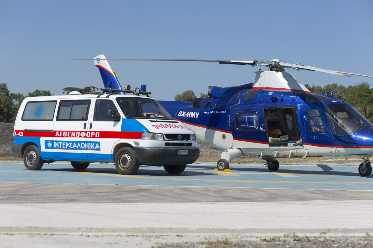 Medical Helicopter and ground transfer