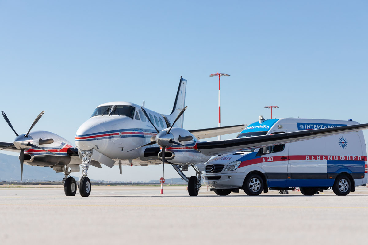 Medical air-transport to hospital with airplane and ground ambulance