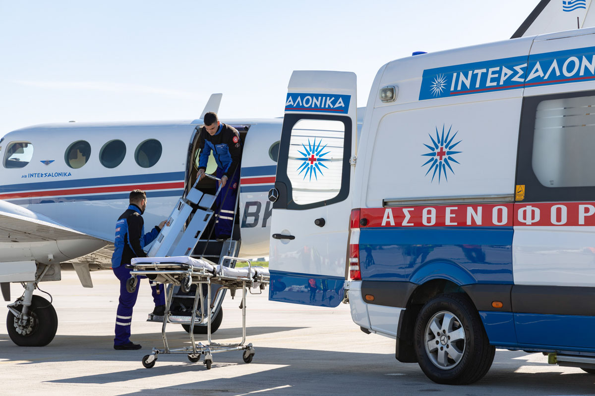 Medical Transfer to hospital with airplane and ground ambulance